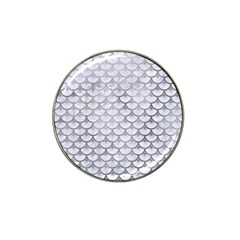 Scales3 White Marble & Silver Paint (r) Hat Clip Ball Marker (4 Pack)