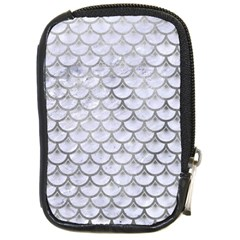 Scales3 White Marble & Silver Paint (r) Compact Camera Cases