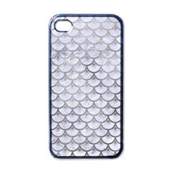 Scales3 White Marble & Silver Paint (r) Apple Iphone 4 Case (black)