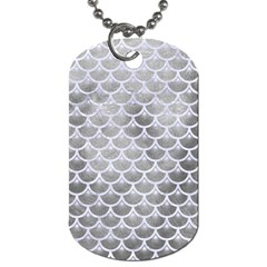Scales3 White Marble & Silver Paint Dog Tag (two Sides)