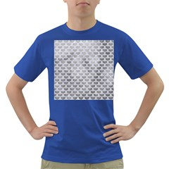 Scales3 White Marble & Silver Paint Dark T Shirt