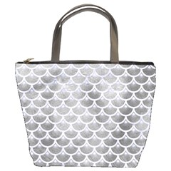 Scales3 White Marble & Silver Paint Bucket Bags