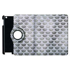 Scales3 White Marble & Silver Paint Apple Ipad 2 Flip 360 Case
