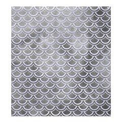 Scales2 White Marble & Silver Paint Shower Curtain 66  X 72  (large)