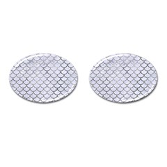 Scales1 White Marble & Silver Paint (r) Cufflinks (oval)