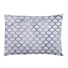 Scales1 White Marble & Silver Paint (r) Pillow Case
