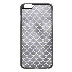 Scales1 White Marble & Silver Paint Apple Iphone 6 Plus/6s Plus Black Enamel Case