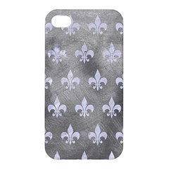 Royal1 White Marble & Silver Paint (r) Apple Iphone 4/4s Premium Hardshell Case