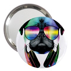 Dj Pug Cool Dog 3  Handbag Mirrors