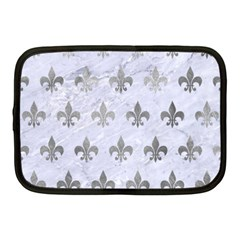 Royal1 White Marble & Silver Paint Netbook Case (medium)