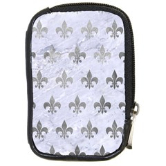 Royal1 White Marble & Silver Paint Compact Camera Cases