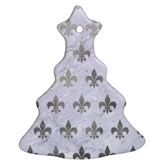 Royal1 White Marble & Silver Paint Christmas Tree Ornament (two Sides)