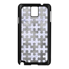 Puzzle1 White Marble & Silver Paint Samsung Galaxy Note 3 N9005 Case (black)