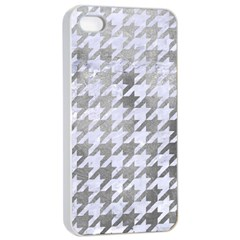Houndstooth1 White Marble & Silver Paint Apple Iphone 4/4s Seamless Case (white)