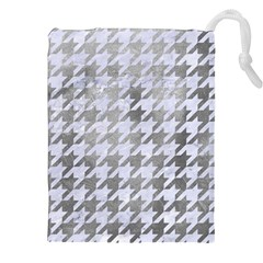 Houndstooth1 White Marble & Silver Paint Drawstring Pouches (xxl)