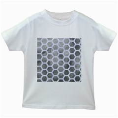 Hexagon2 White Marble & Silver Paint Kids White T Shirts