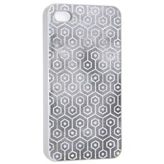 Hexagon1 White Marble & Silver Paint Apple Iphone 4/4s Seamless Case (white)