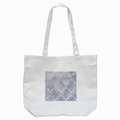 Damask1 White Marble & Silver Paint (r) Tote Bag (white)