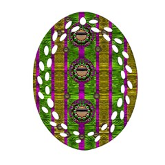 Sunset Love In The Rainbow Decorative Oval Filigree Ornament (two Sides)