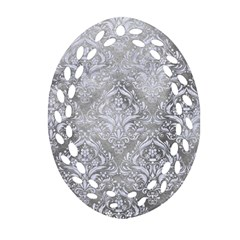 Damask1 White Marble & Silver Paint Oval Filigree Ornament (two Sides)