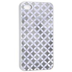 Circles3 White Marble & Silver Paint Apple Iphone 4/4s Seamless Case (white)