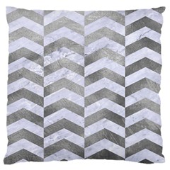 Chevron2 White Marble & Silver Paint Large Flano Cushion Case (one Side)