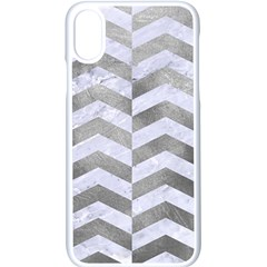 Chevron2 White Marble & Silver Paint Apple Iphone X Seamless Case (white)