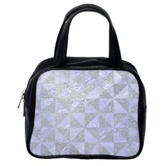 Triangle1 White Marble & Silver Glitter Classic Handbags (one Side)