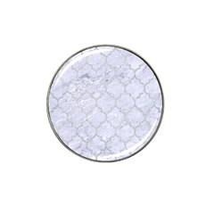 Tile1 White Marble & Silver Glitter (r) Hat Clip Ball Marker (4 Pack)