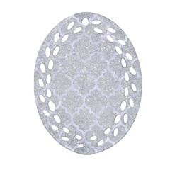 Tile1 White Marble & Silver Glitter Oval Filigree Ornament (two Sides)