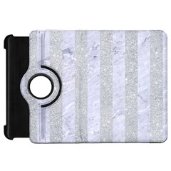 Stripes1 White Marble & Silver Glitter Kindle Fire Hd 7