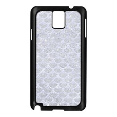 Scales3 White Marble & Silver Glitter Samsung Galaxy Note 3 N9005 Case (black)