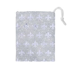 Royal1 White Marble & Silver Glitter (r) Drawstring Pouches (large)