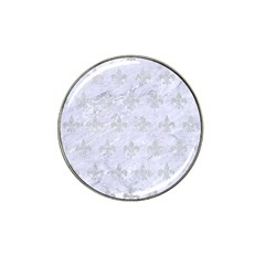 Royal1 White Marble & Silver Glitter Hat Clip Ball Marker (4 Pack)