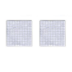 Houndstooth1 White Marble & Silver Glitter Cufflinks (square)