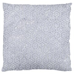 Hexagon1 White Marble & Silver Glitter Large Cushion Case (one Side)