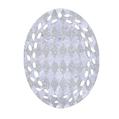 Diamond1 White Marble & Silver Glitter Oval Filigree Ornament (two Sides)