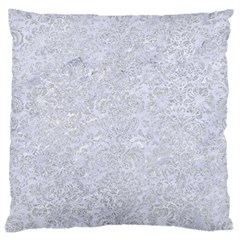 Damask2 White Marble & Silver Glitter (r) Large Cushion Case (one Side)