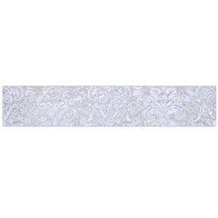Damask2 White Marble & Silver Glitter Large Flano Scarf