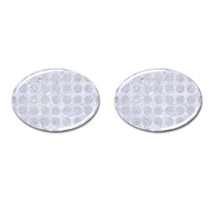 Circles1 White Marble & Silver Glitter (r) Cufflinks (oval)
