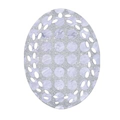Circles1 White Marble & Silver Glitter Oval Filigree Ornament (two Sides)