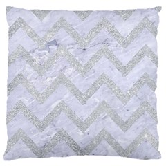 Chevron9 White Marble & Silver Glitter (r) Large Cushion Case (one Side)
