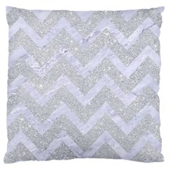 Chevron9 White Marble & Silver Glitter Large Cushion Case (one Side)