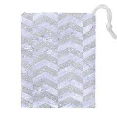 Chevron2 White Marble & Silver Glitter Drawstring Pouches (xxl)