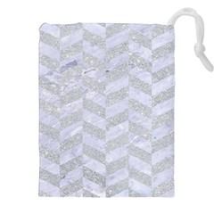 Chevron1 White Marble & Silver Glitter Drawstring Pouches (xxl)