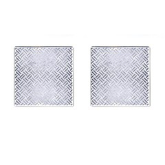Woven2 White Marble & Silver Brushed Metal (r) Cufflinks (square)