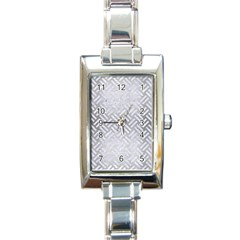 Woven2 White Marble & Silver Brushed Metal Rectangle Italian Charm Watch