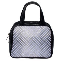 Woven2 White Marble & Silver Brushed Metal Classic Handbags (one Side)