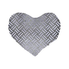 Woven2 White Marble & Silver Brushed Metal Standard 16  Premium Heart Shape Cushions