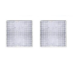 Woven1 White Marble & Silver Brushed Metal (r) Cufflinks (square)